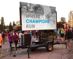 mobile LED screen at marathon event